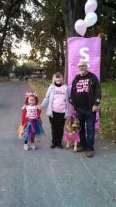 Lady and family at the cancer walk